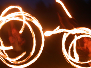 Our 06 apprentice Sophia entertained us one night with spinning fire!